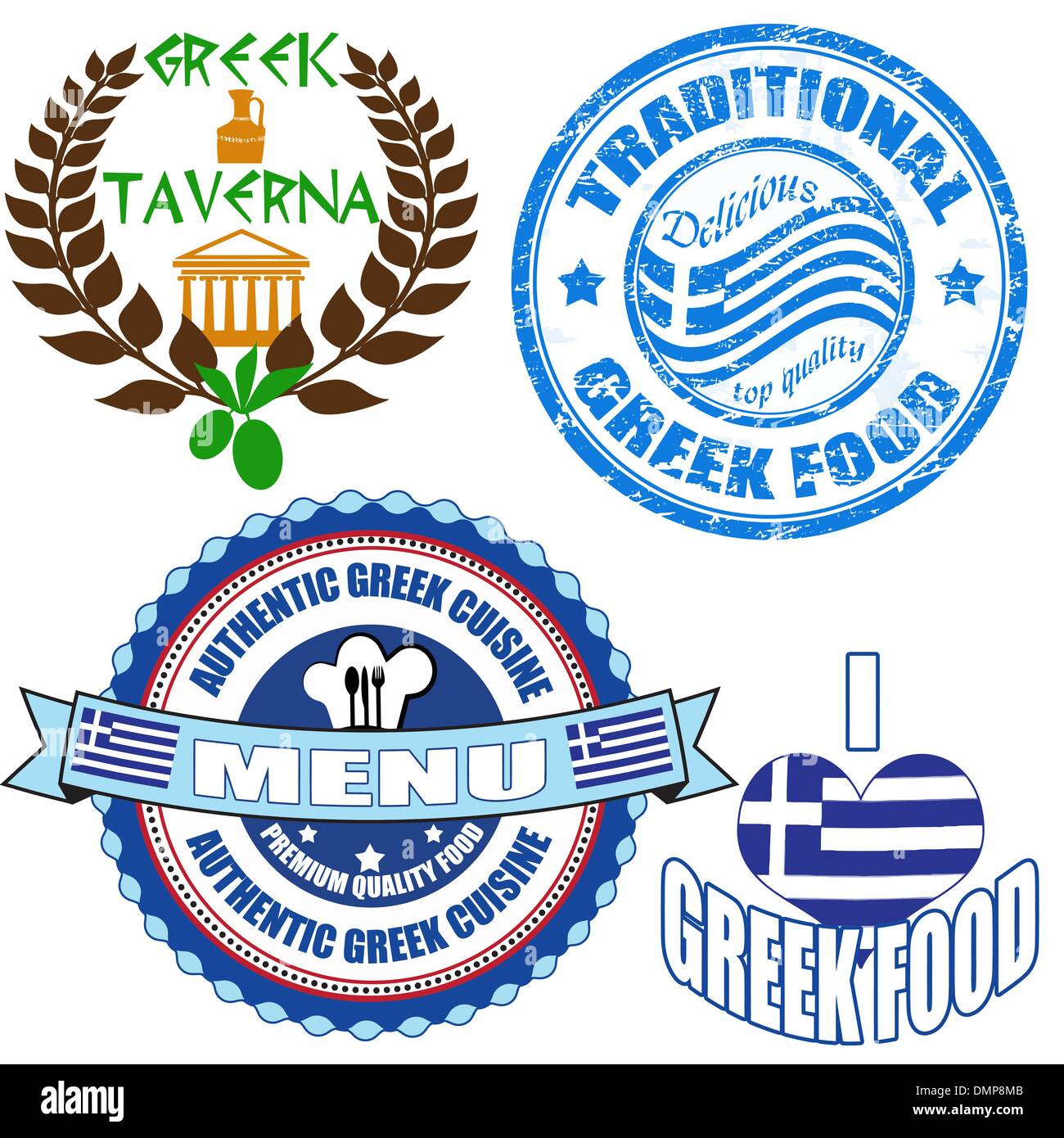 Set of authentic greek food stamp and labels - Stock Vector