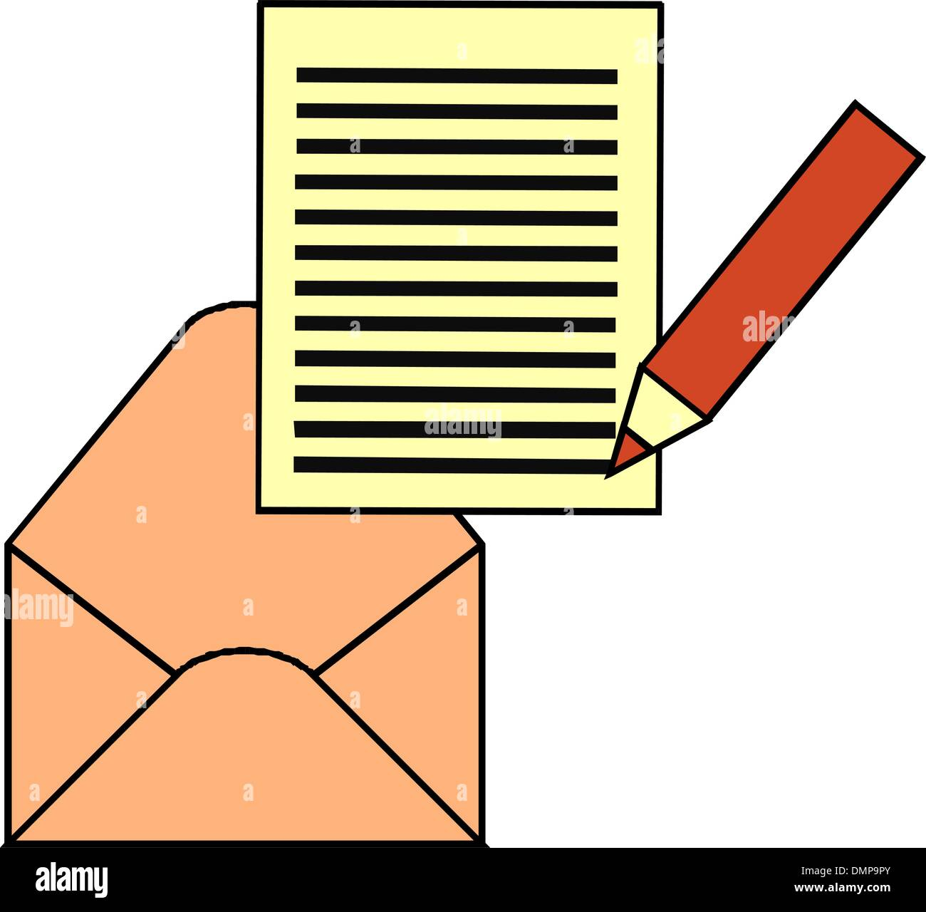 Envelope and note - Stock Vector