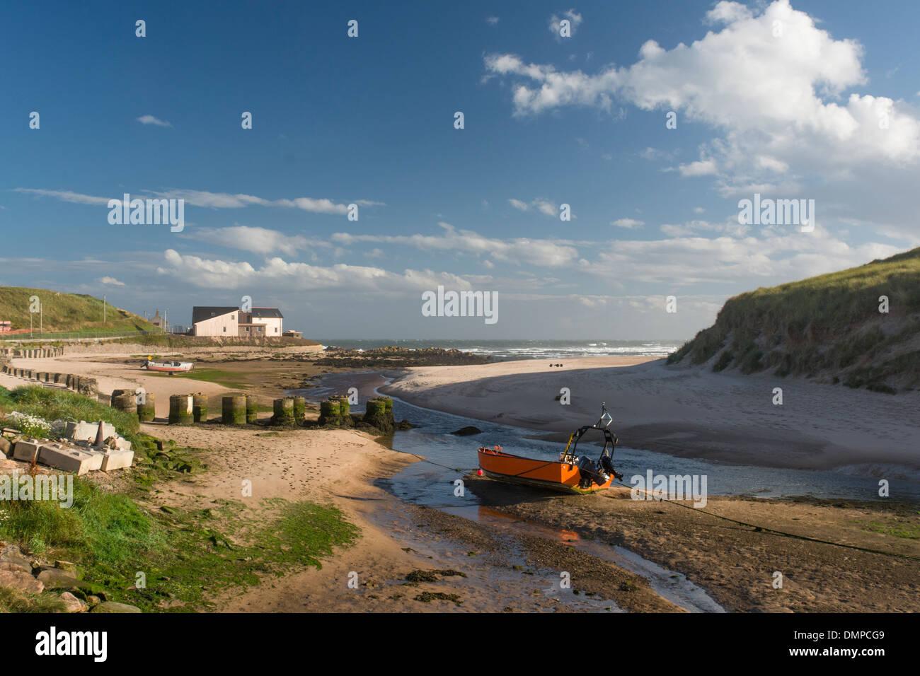 cruden bay aberdeen estuary inshore boat - Stock Image