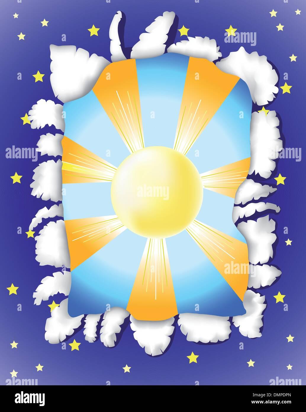 Sunny day and  dark night - Stock Vector
