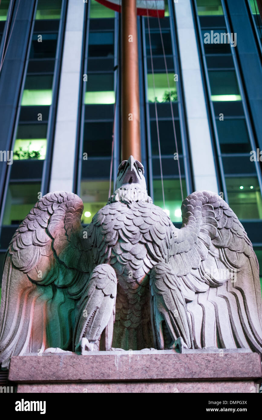 Low Angle Shot Of Eagle Statue Outside Madison Square Garden In New York, US