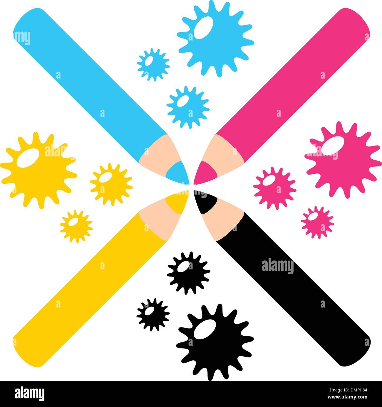 CMYK color color pencil illustration - Stock Image