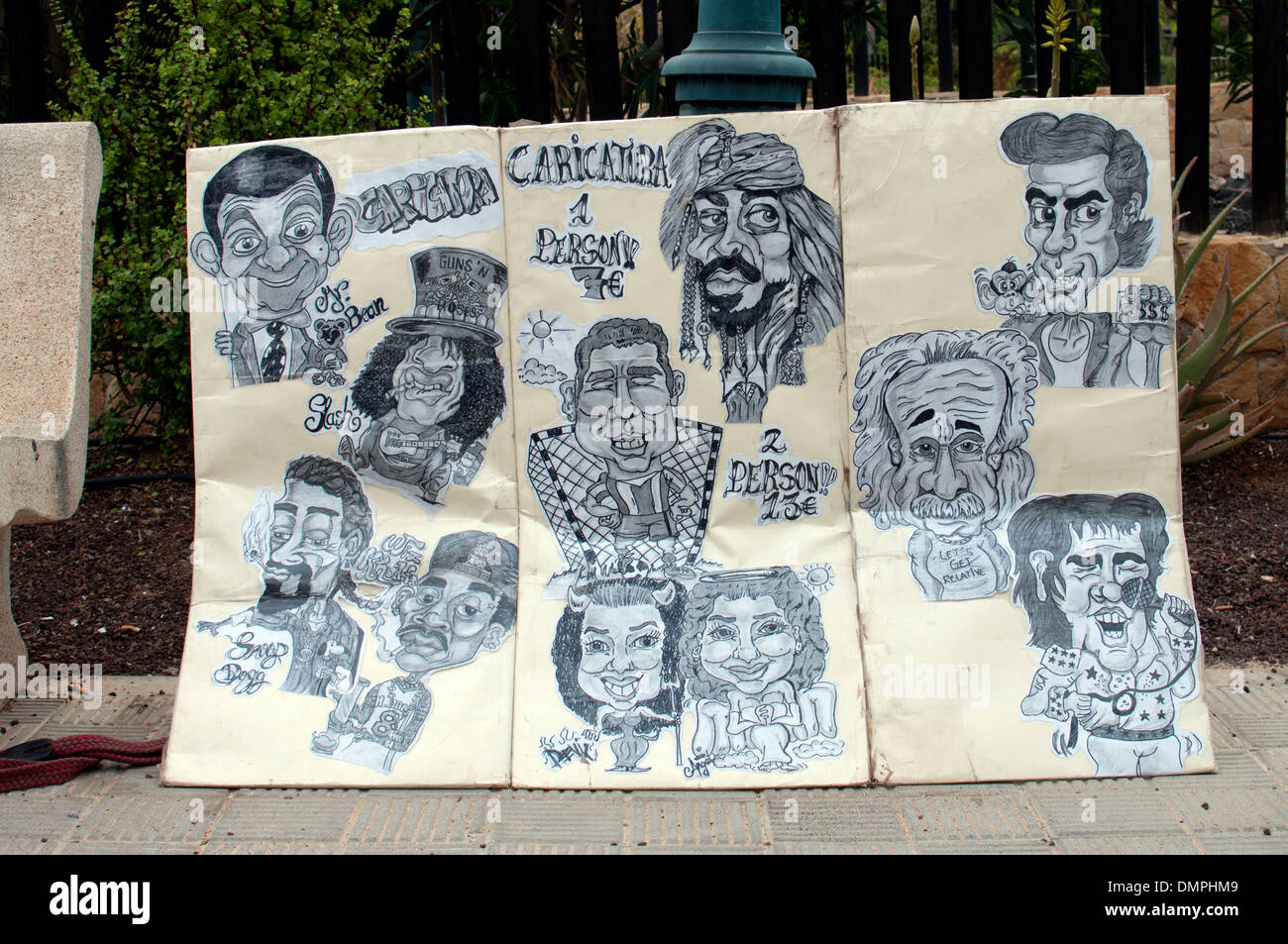 Caricatures , Caleta de Fuste, Fuerteventura, Canary Islands. - Stock Image