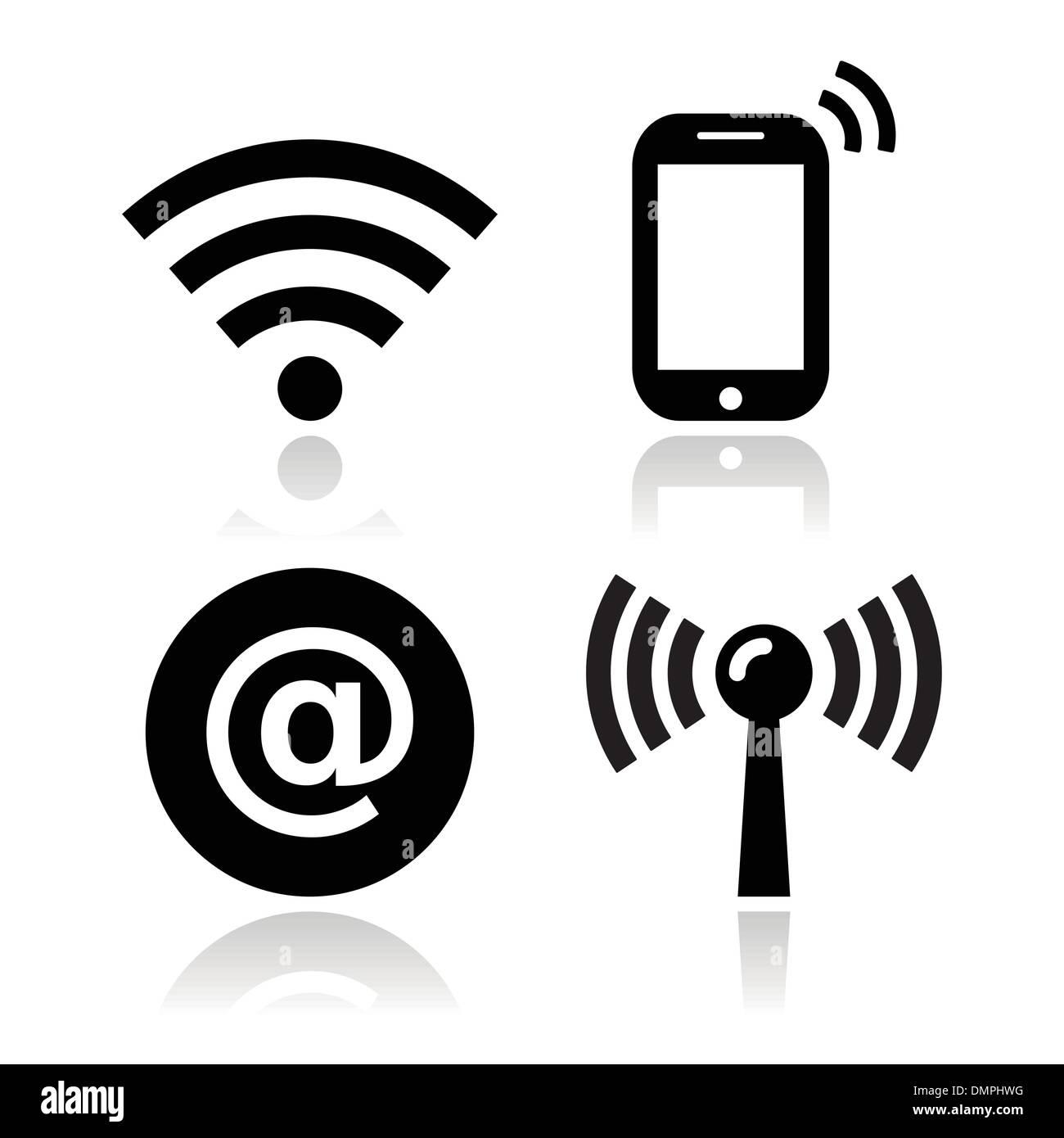 Wifi network, internet zone icons set - Stock Image