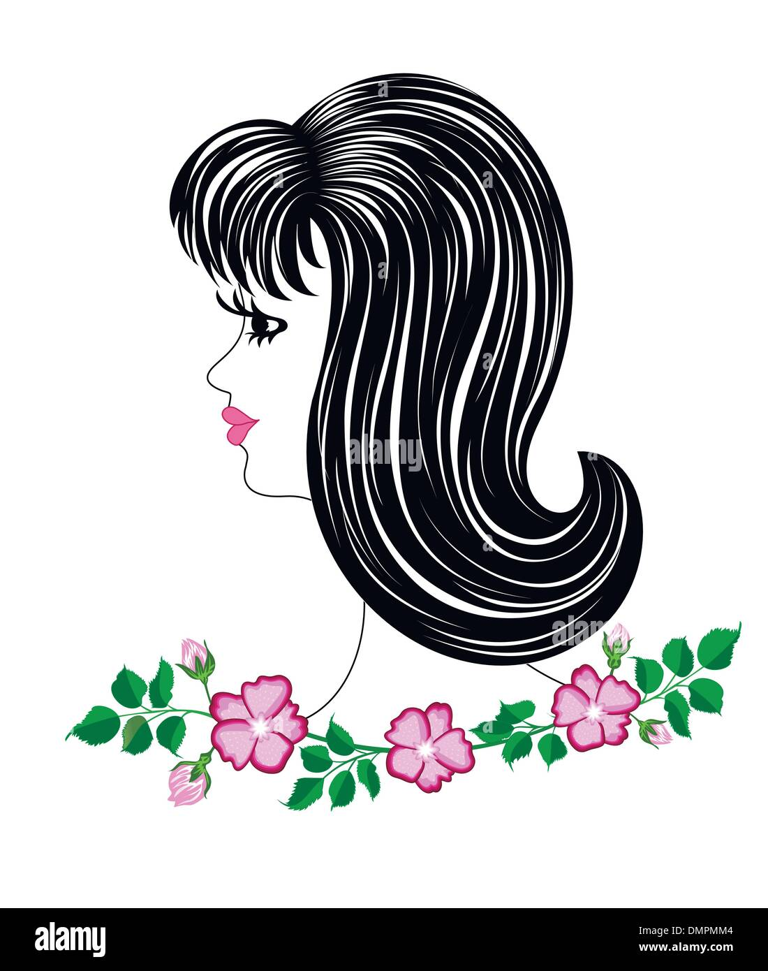 Profile girl on a white background - Stock Vector