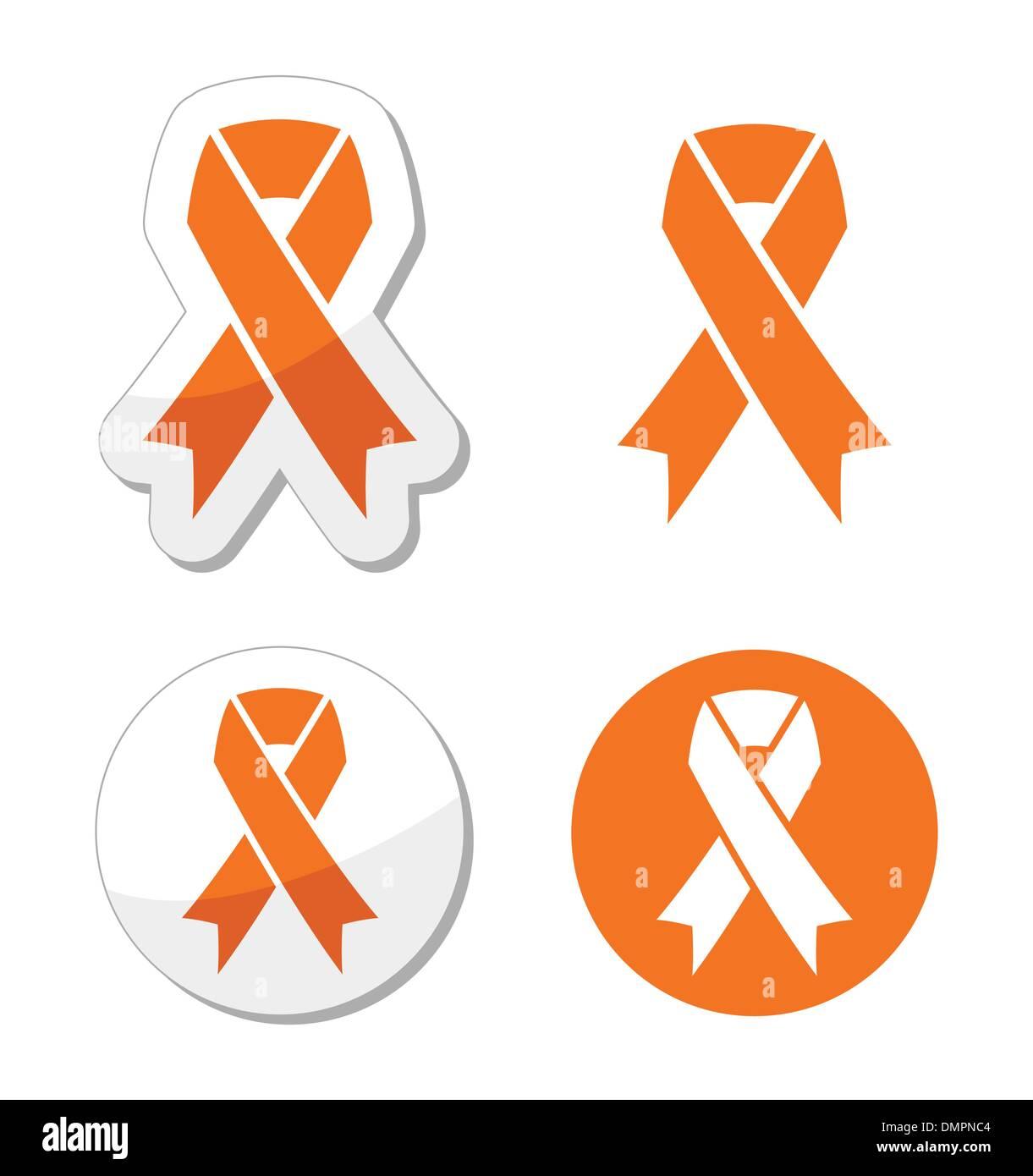 Orange ribbon - leukemia, hunger, humane treatment of animals sign - Stock Image
