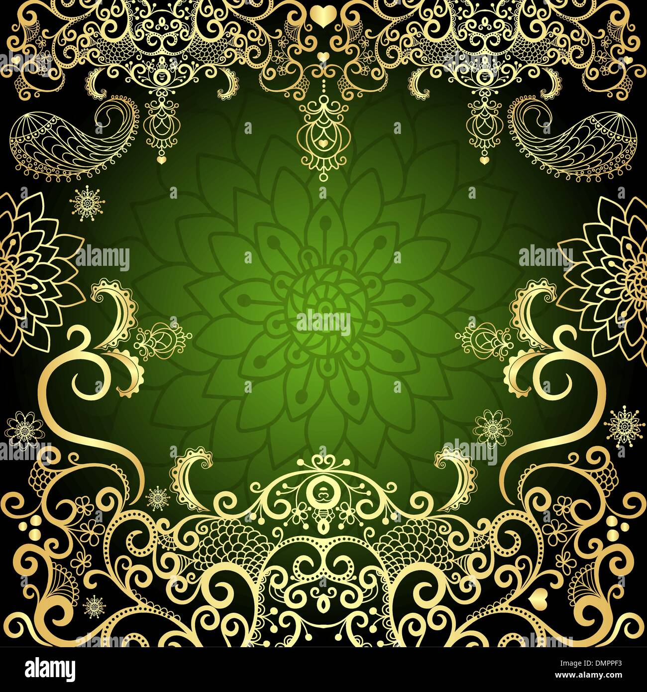 Green Gold Vintage Floral Frame Stock Vector Art Illustration