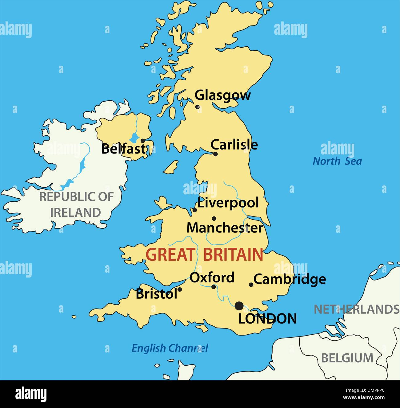 vector illustration - map of the United Kingdom of Great Britain - Stock Vector