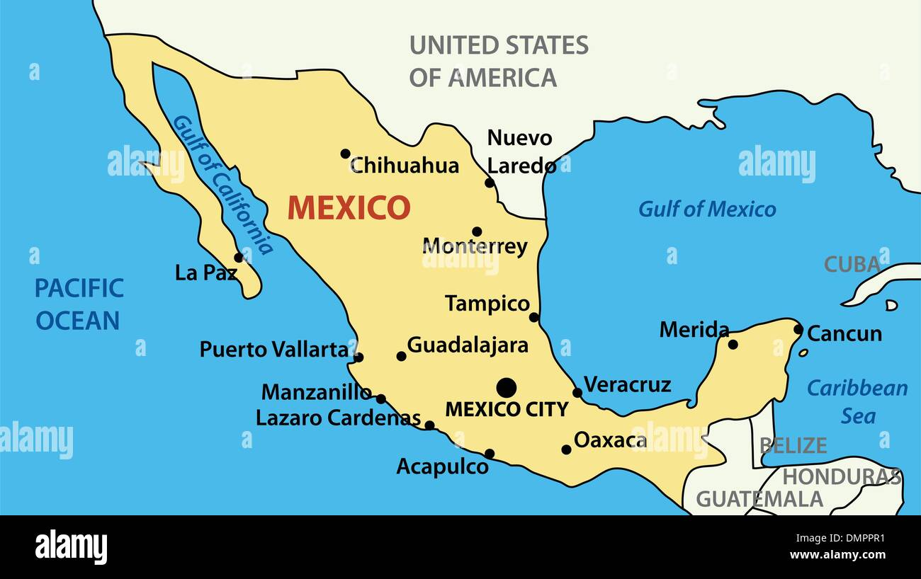 vector illustration - map of United Mexican States - Stock Vector