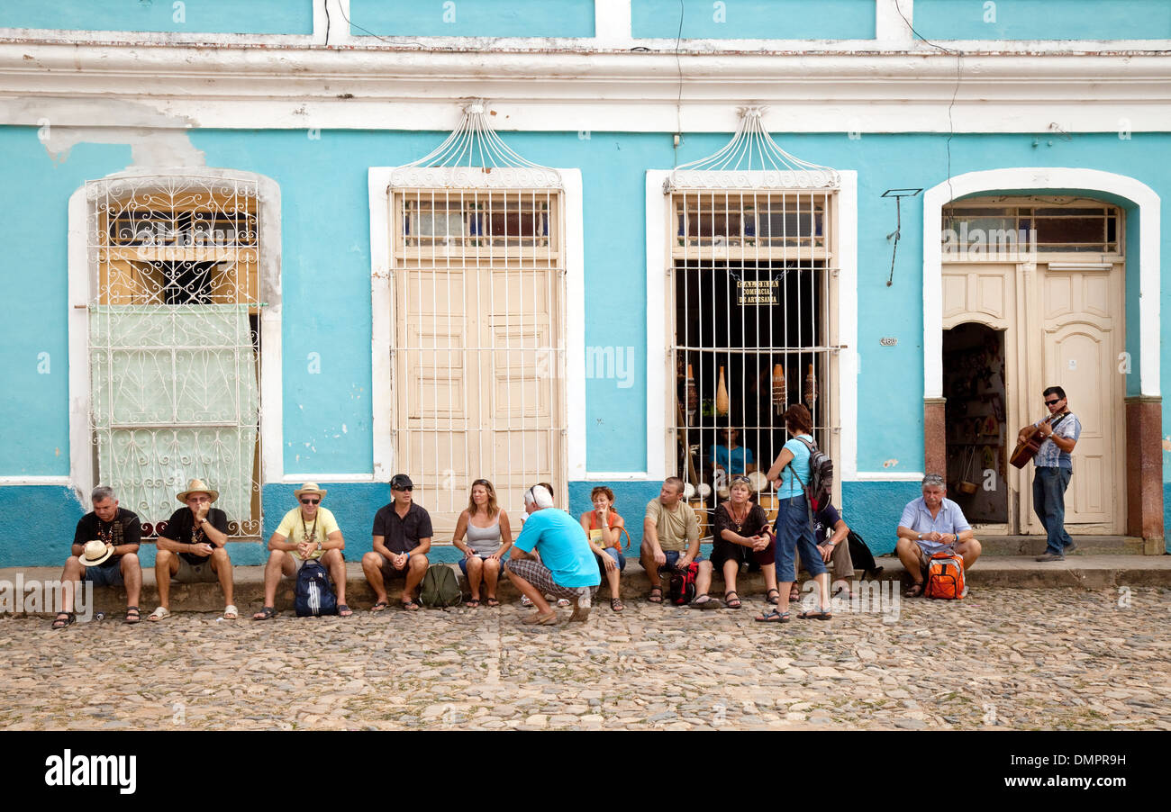 Tourists in the street, Trinidad, Cuba, Caribbean, Latin America - Stock Image
