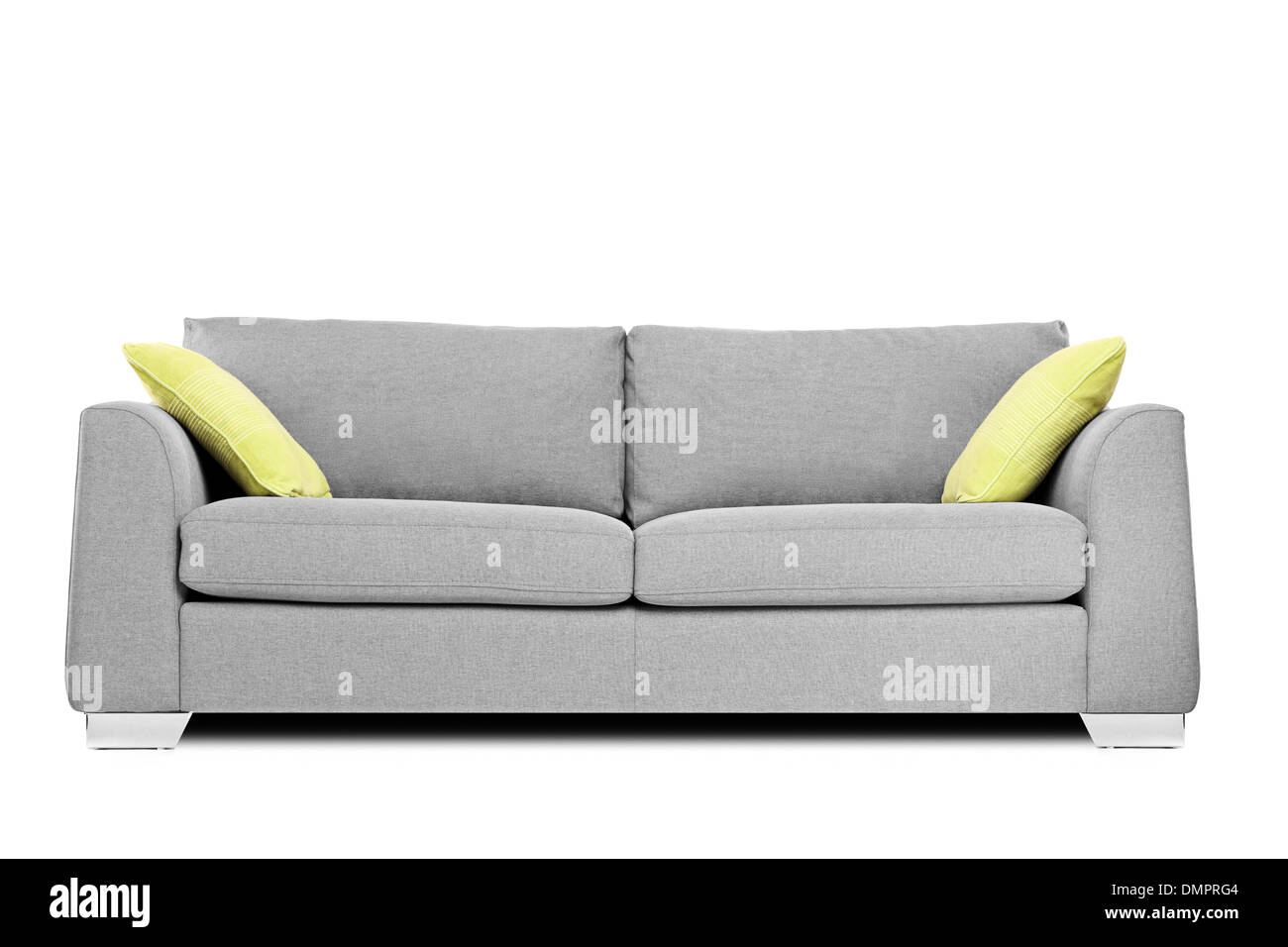 Studio shot of a modern couch with pillows - Stock Image