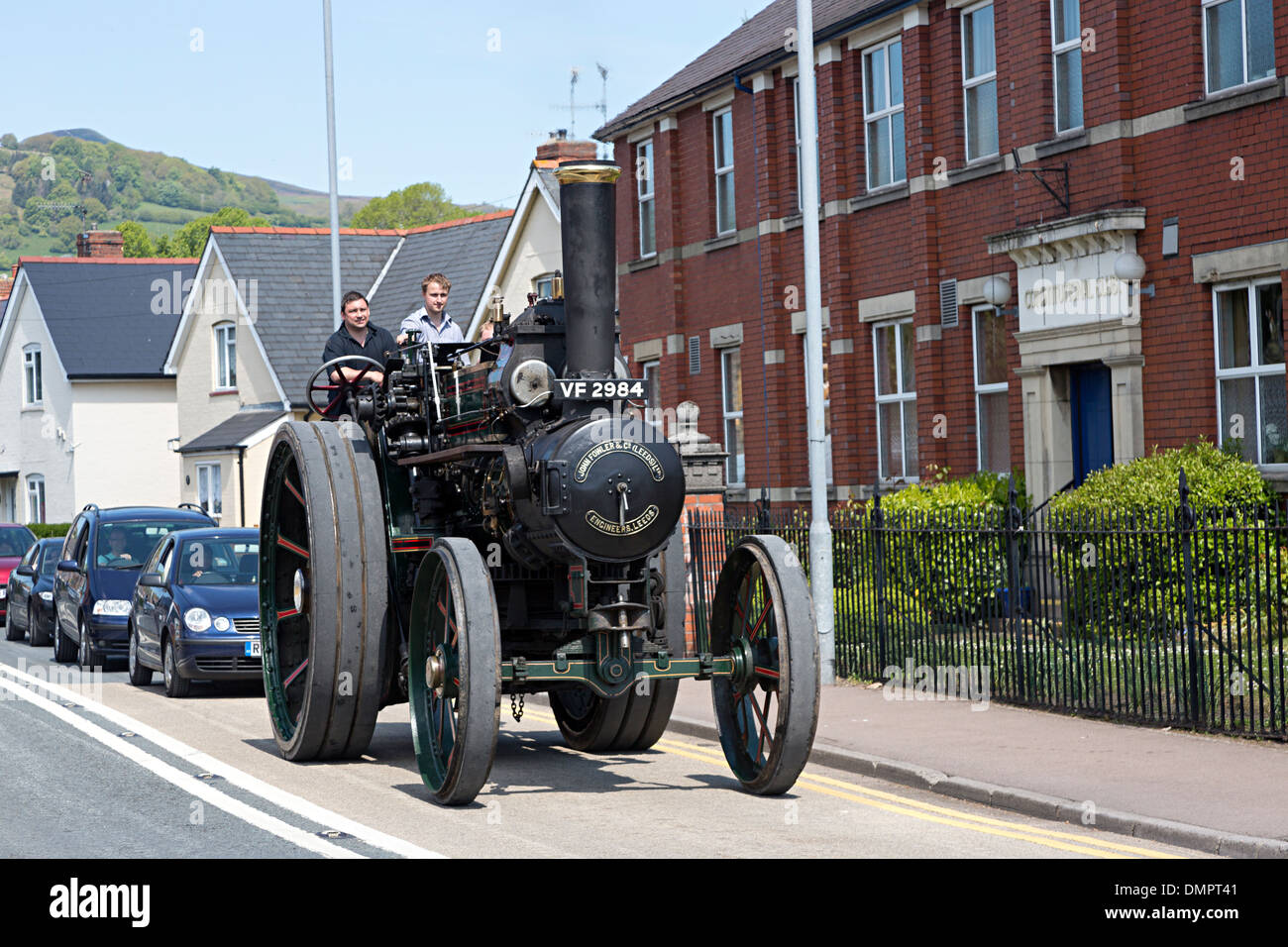 Steam Rally with steam engine on public road, Abergavenny, Wales, UK - Stock Image