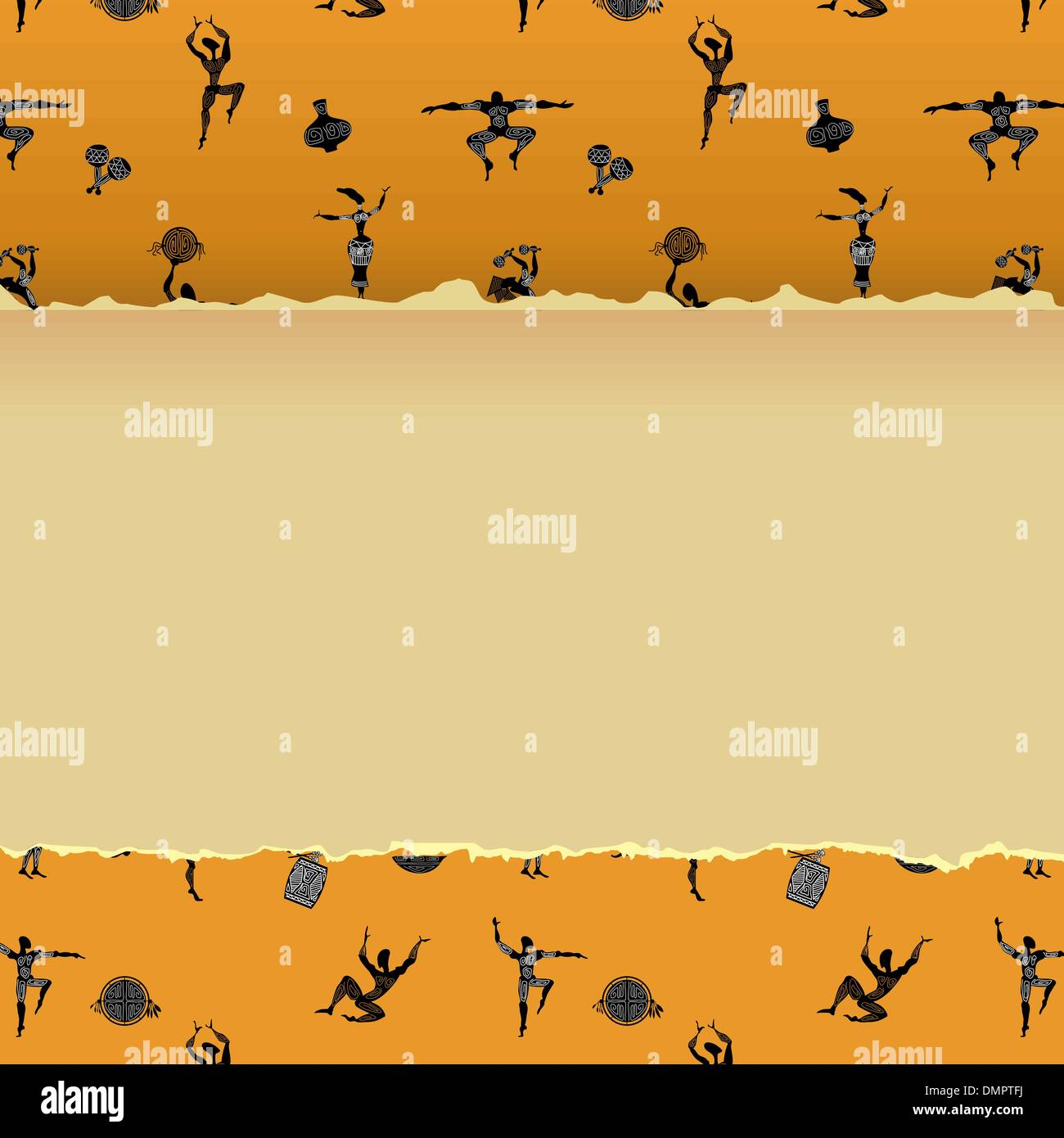 Abstract background with figures of primitive people - Stock Image