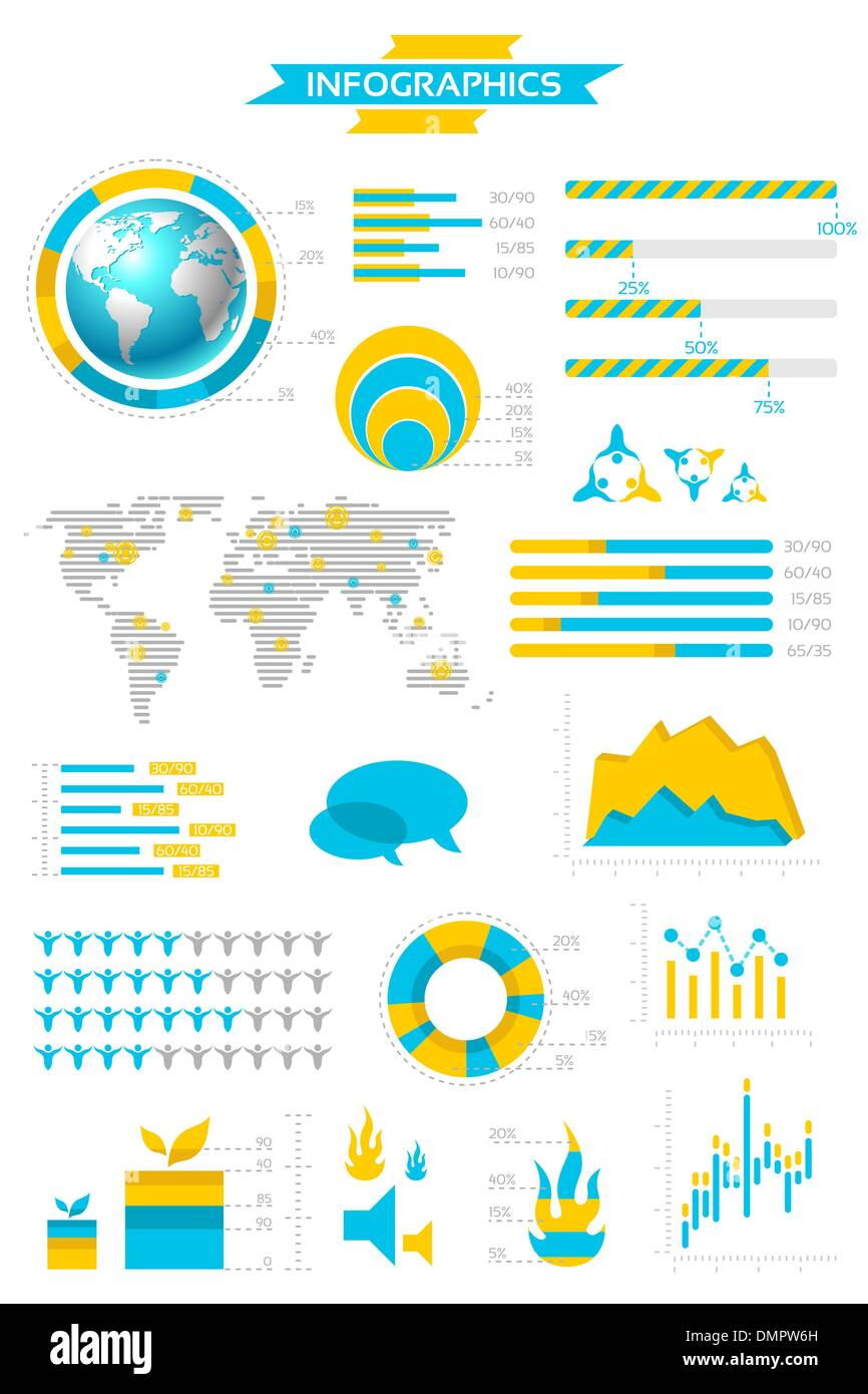 Infographic collection with labels and graphic elements. Vector - Stock Image