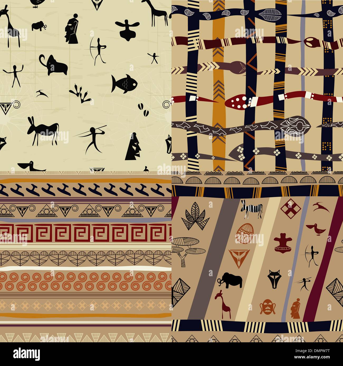 A set of patterns  primitive tribal painting - Stock Image