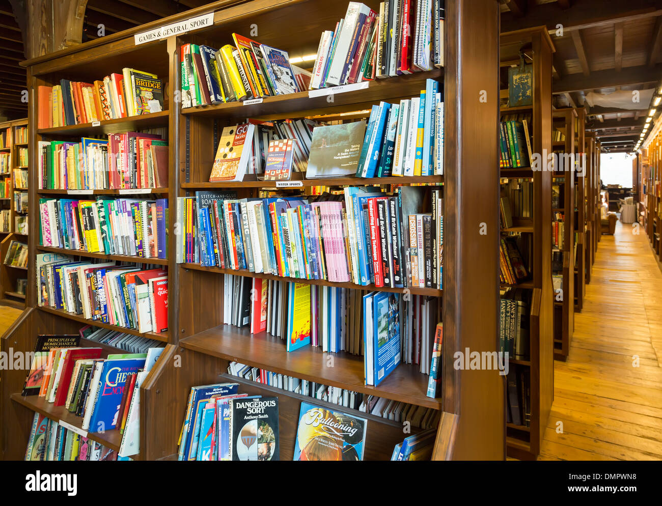 Second hand books on shelves, Hay on Wye, UK - Stock Image