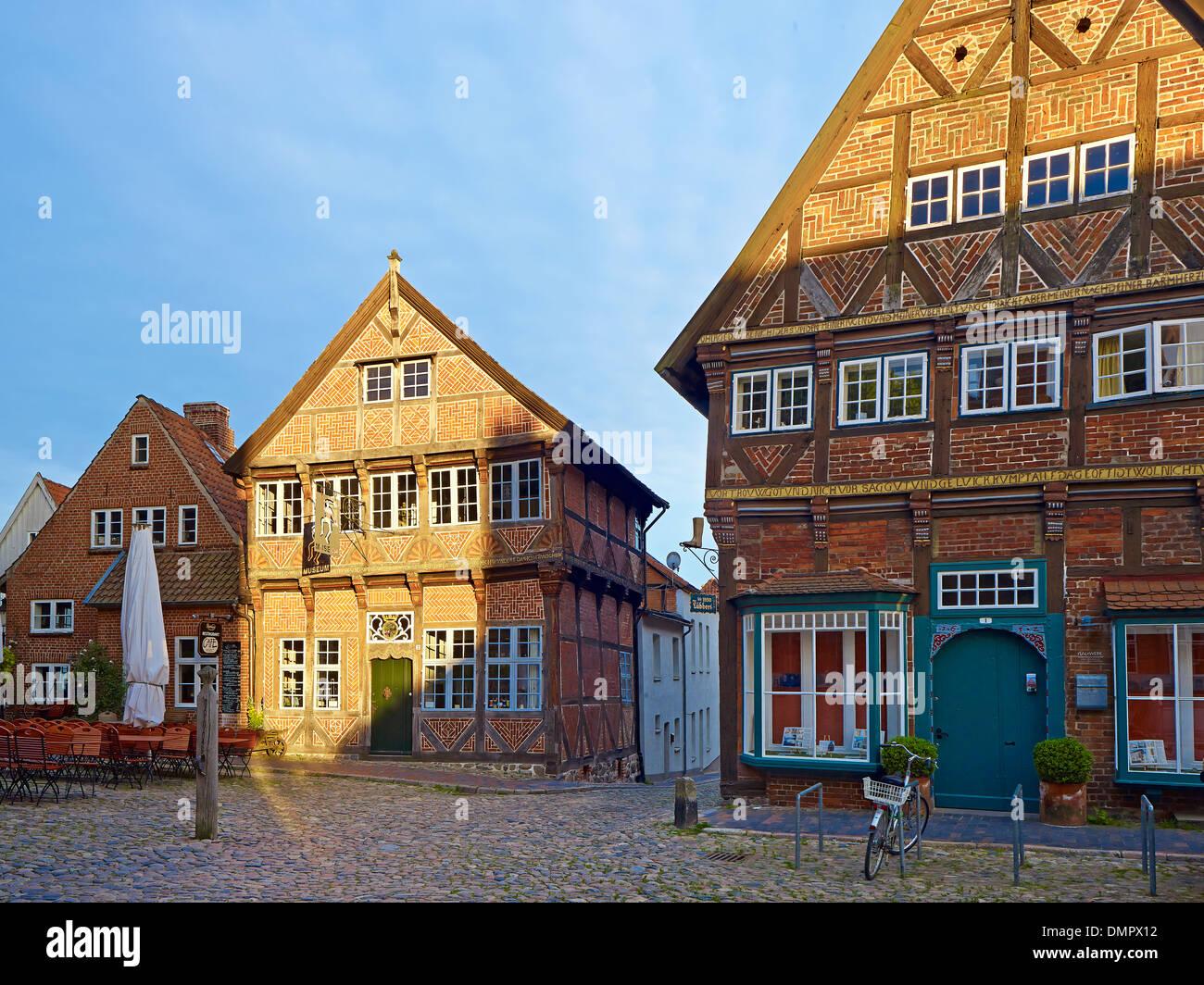 Eulenspiegel museum at marketplace in Mölln, Herzogtum Lauenburg, Schleswig-Holstein, Germany - Stock Image