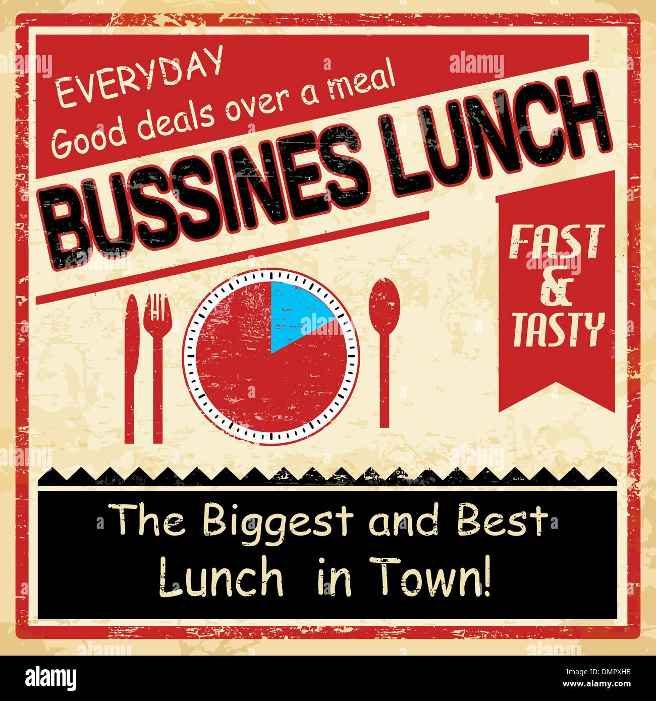 Vintage bussiness lunch grunge poster - Stock Vector