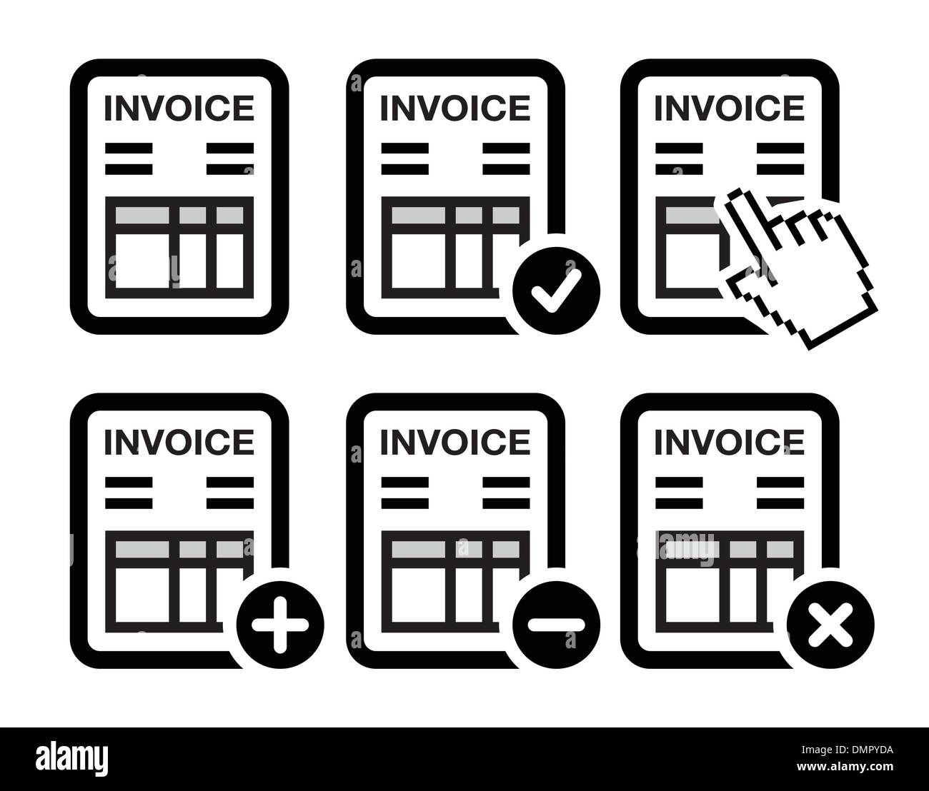Invoice, finance vector icons set - Stock Vector