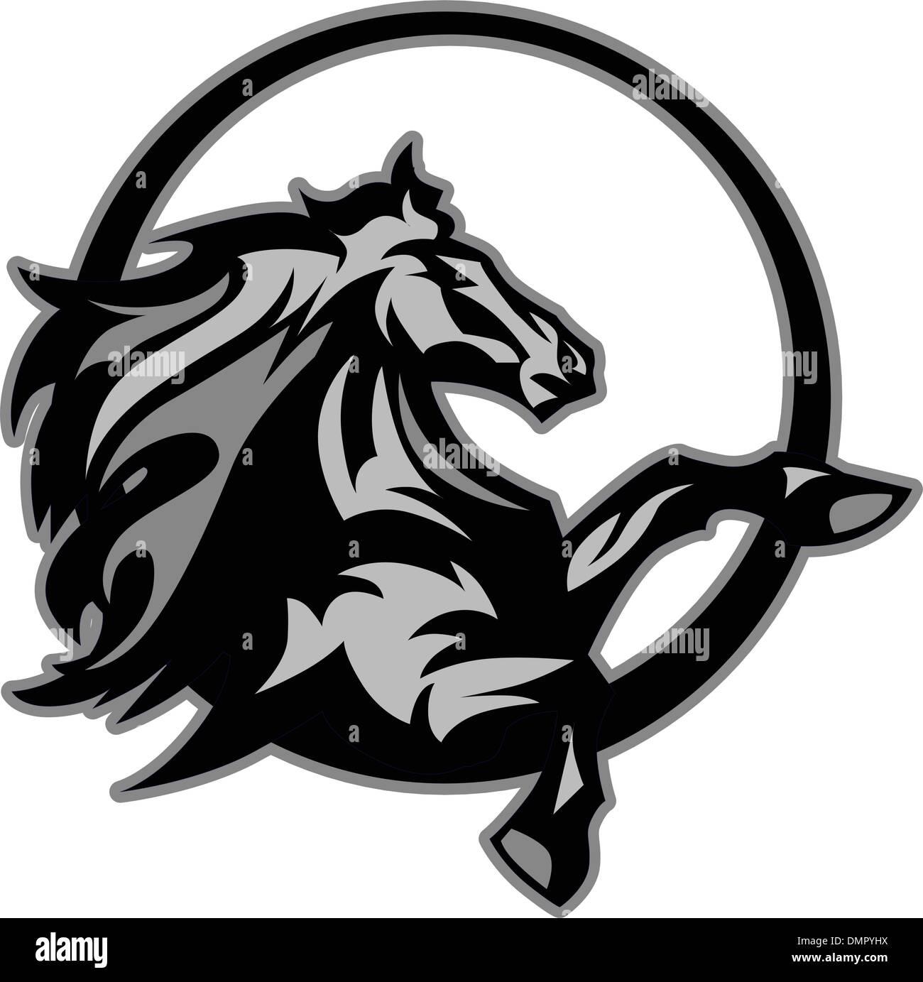Mustang Stallion Graphic Mascot Vector Image - Stock Image