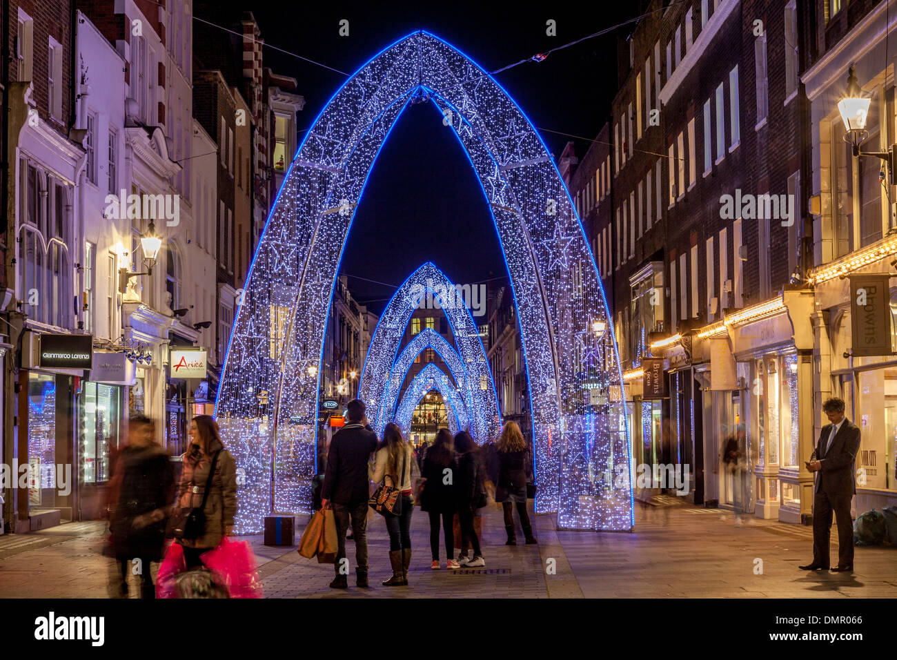 The Christmas Lights In South Molton Street, London, England - Stock Image