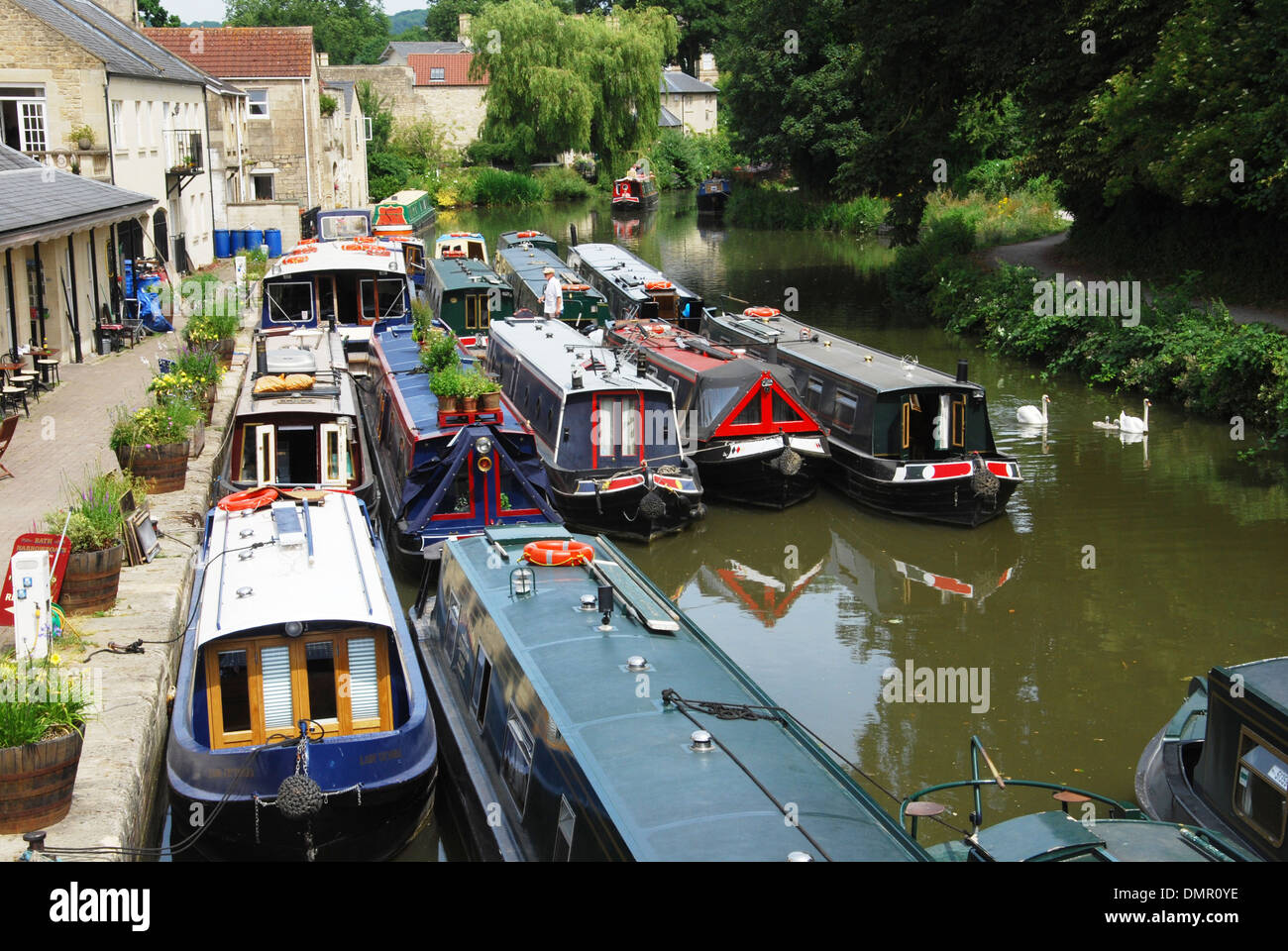 narrowboats on the Oxford canal, Oxfordshire United Kingdom - Stock Image