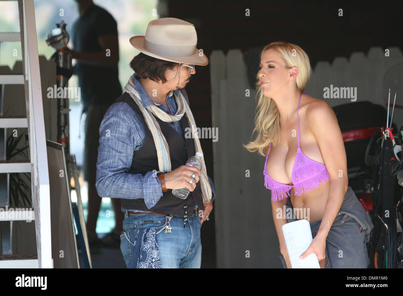 Jordan Carver And A Johnny Depp Look Alike Filming Scenes For Upcoming Film Who