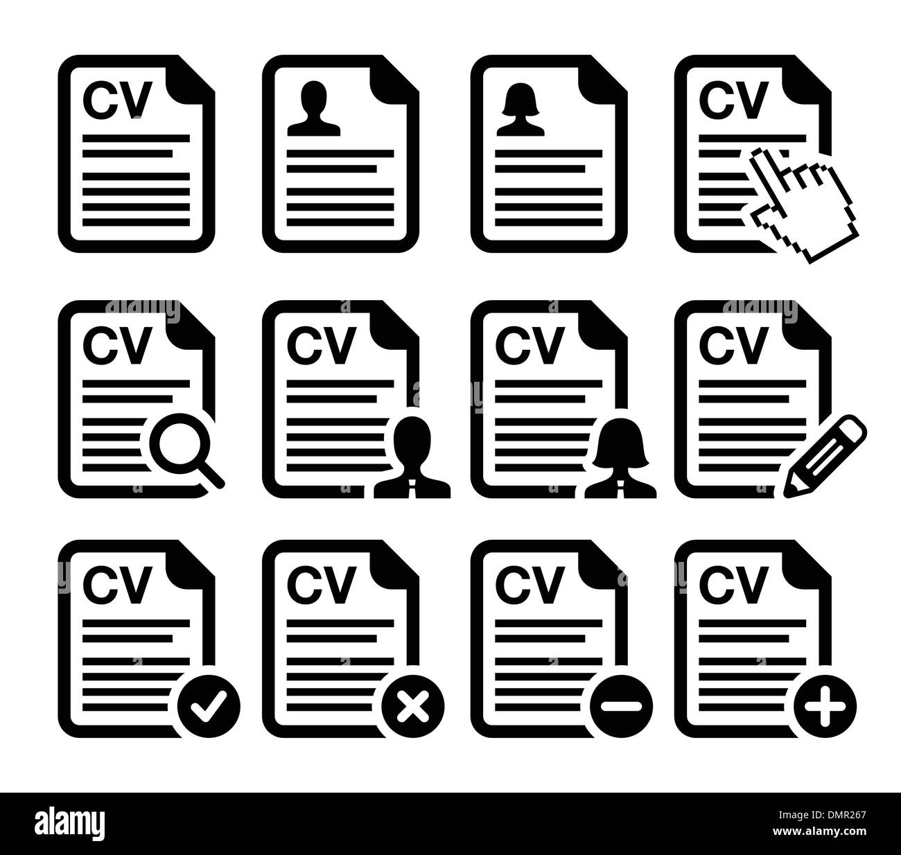 Resume Vector Icons Set Stock Photos Resume Vector Icons Set Stock