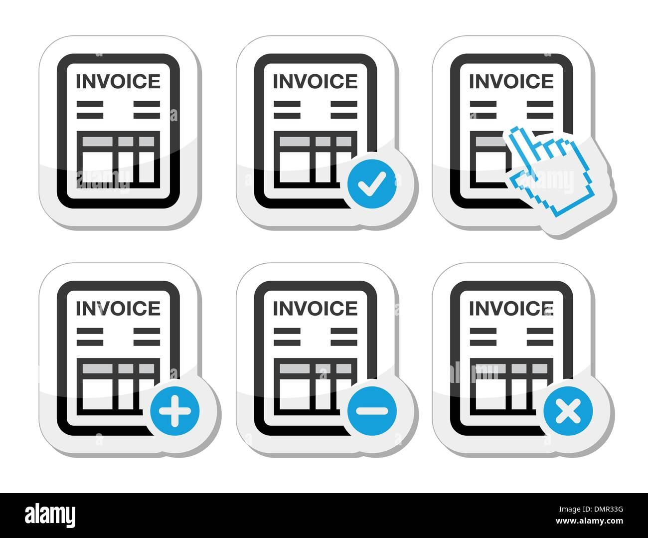 Invoice, finance vector icons set Stock Vector Art
