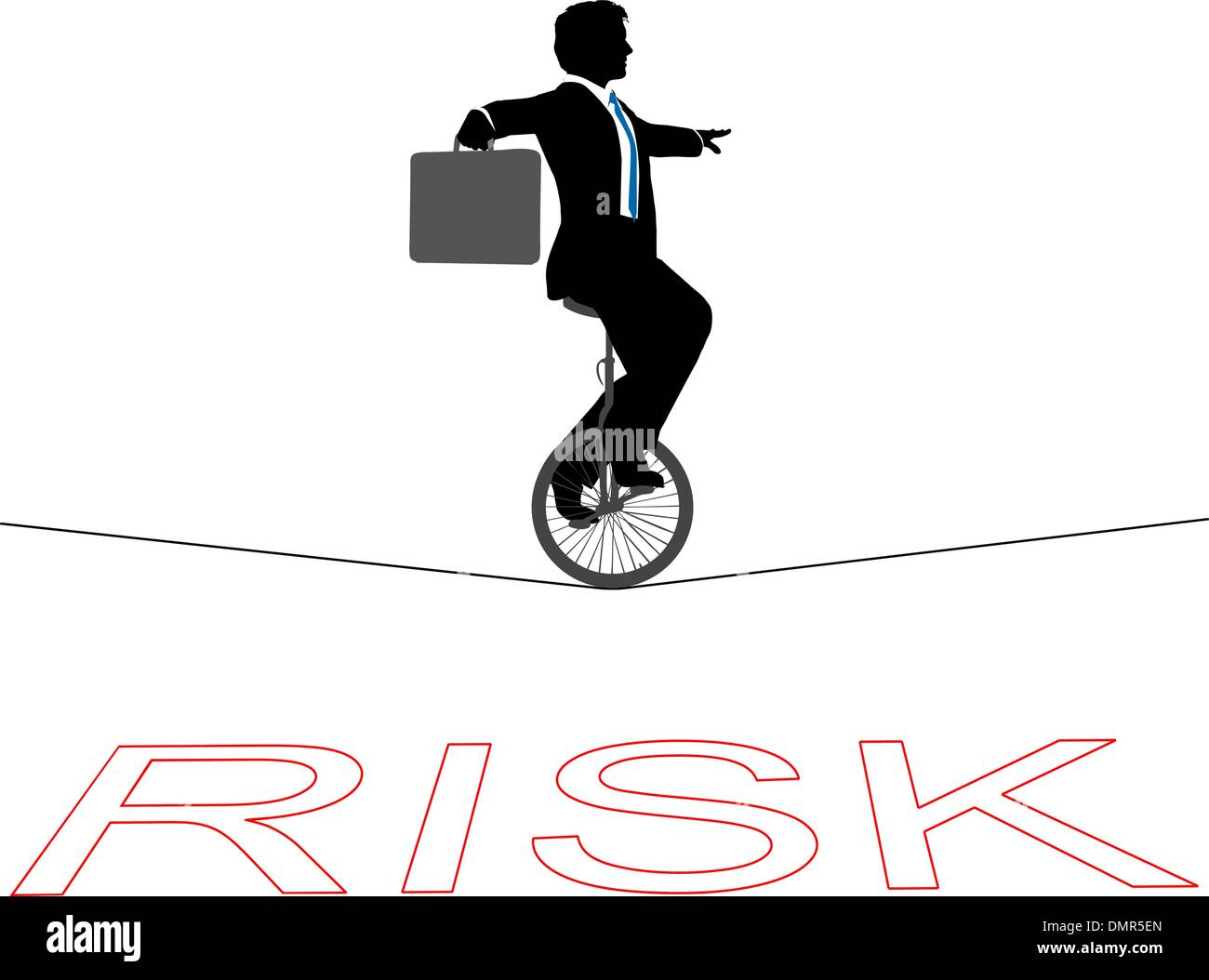 Business man unicycle tightrope over financial risk - Stock Vector