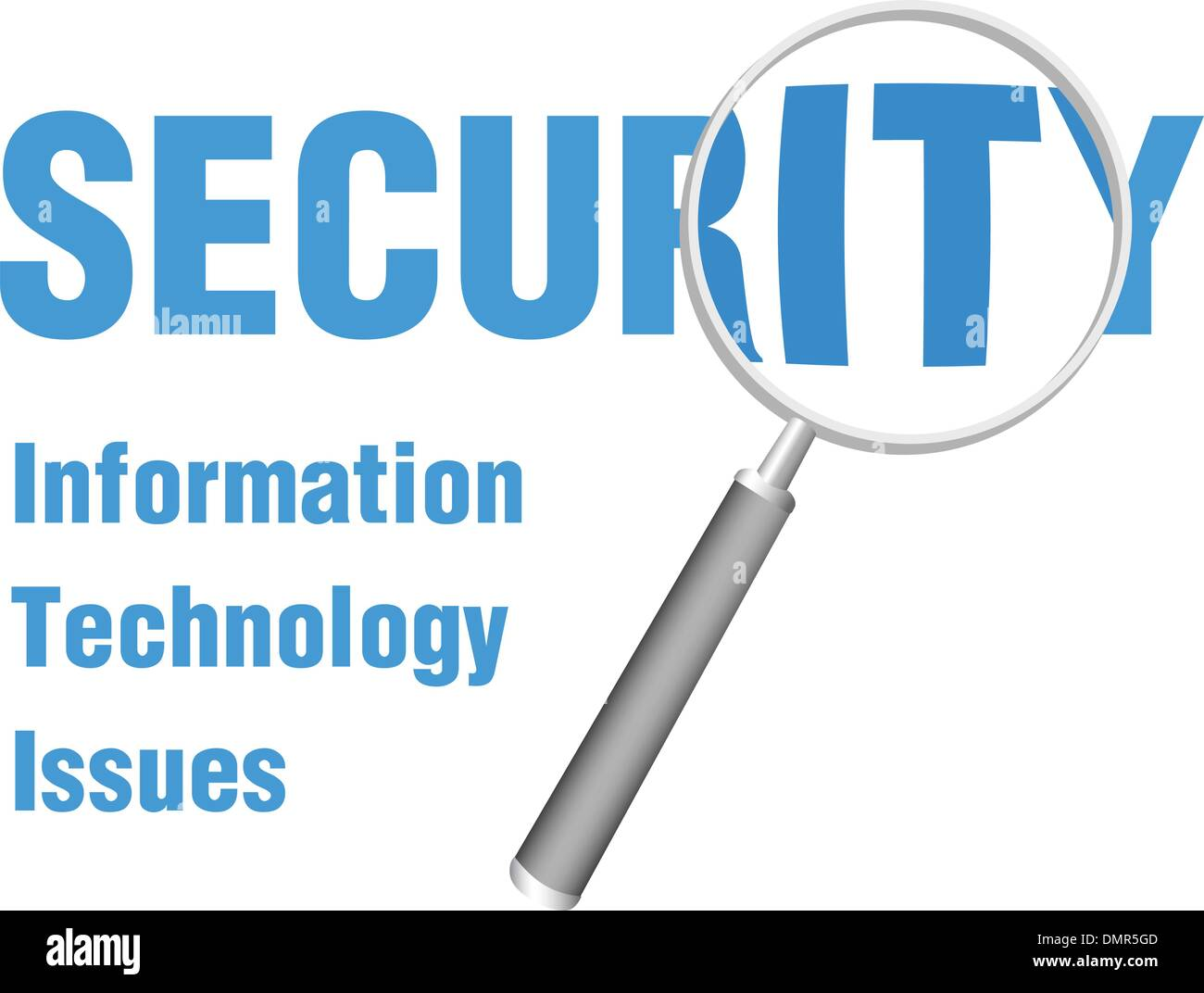 Magnifying Focus on IT Security Technology Issues - Stock Vector