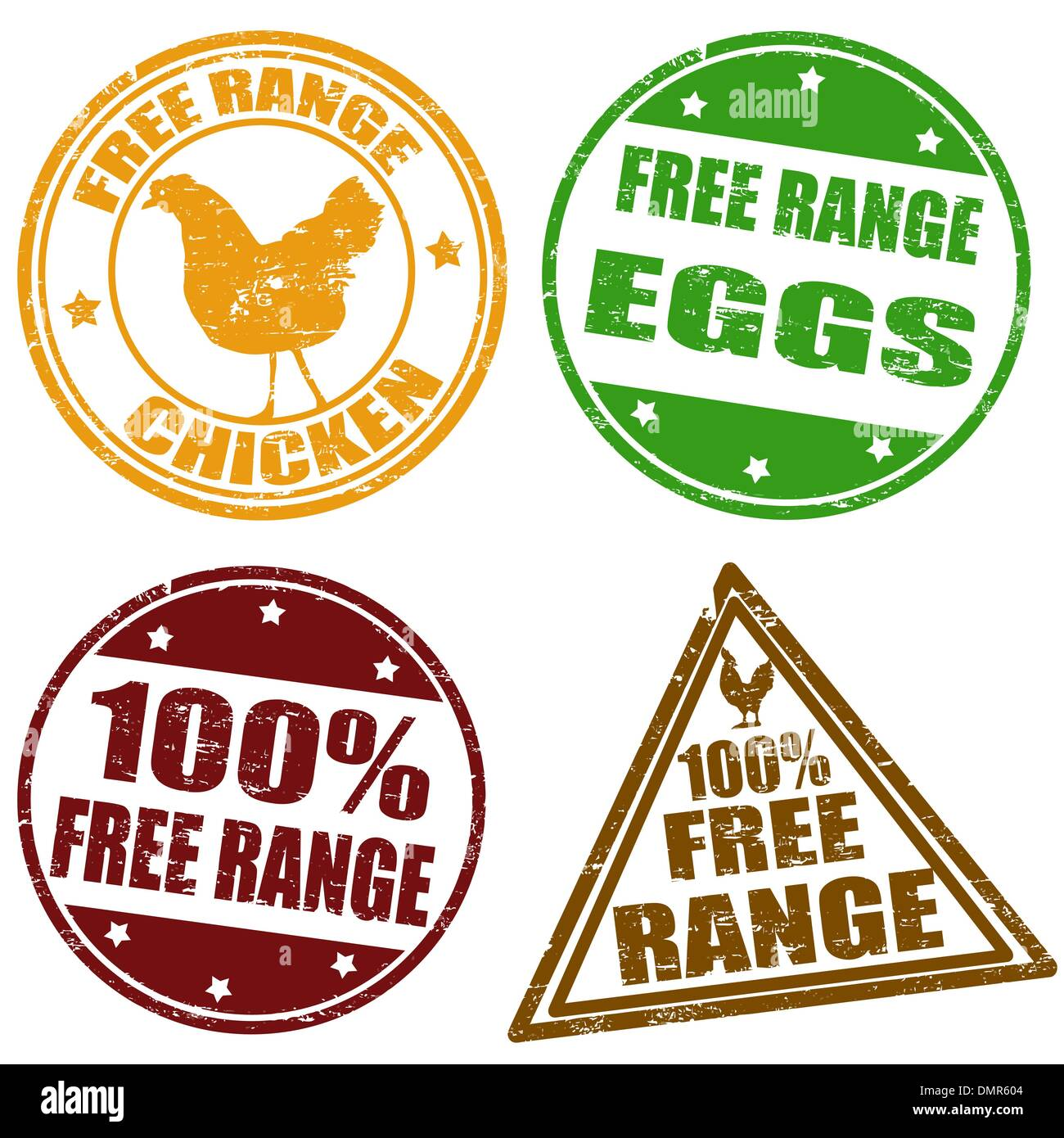 Set of free range stamps - Stock Vector