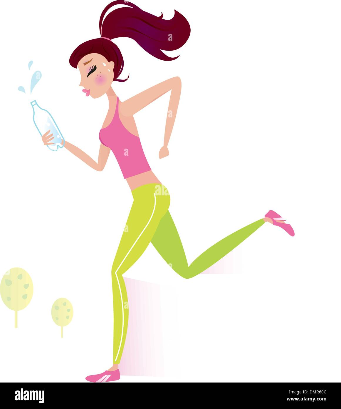 Jogging or running healthy Woman with water bottle - Stock Vector