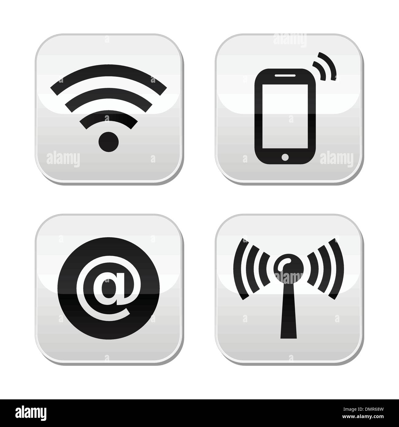 Wifi network, internet zone buttons set - Stock Image