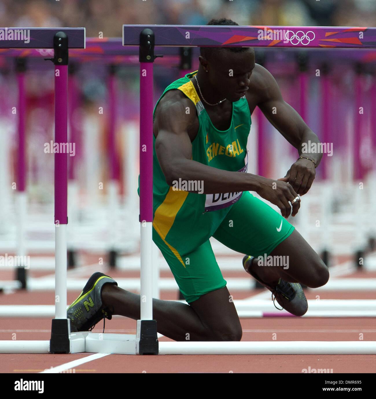 Moussa Dembele London 2012 Olympic Games - Men's 110m Hurdles - Olympic Stadium London England - 07.08.12 - Stock Image