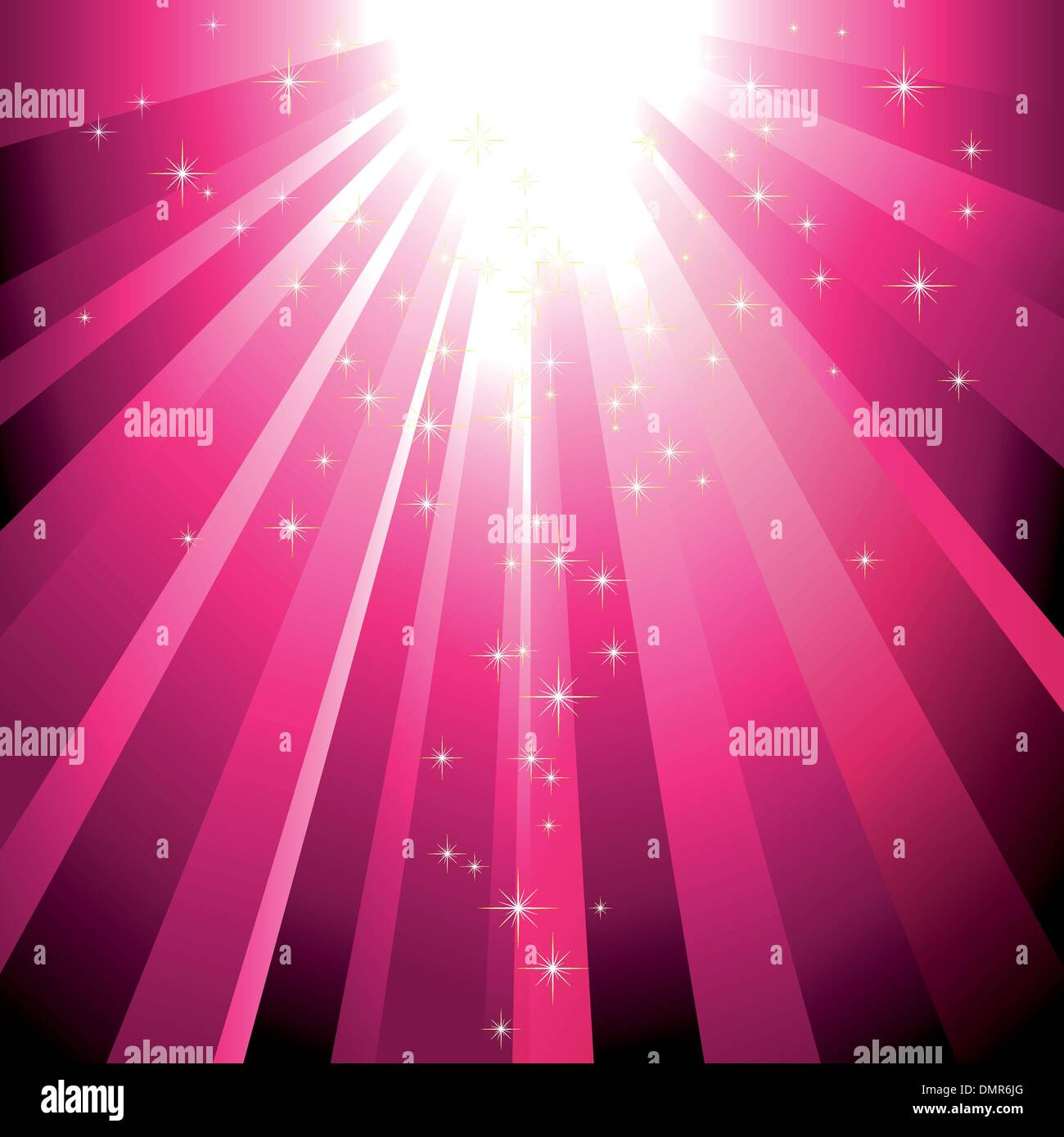 Sparkling stars descending on magenta light burst - Stock Image