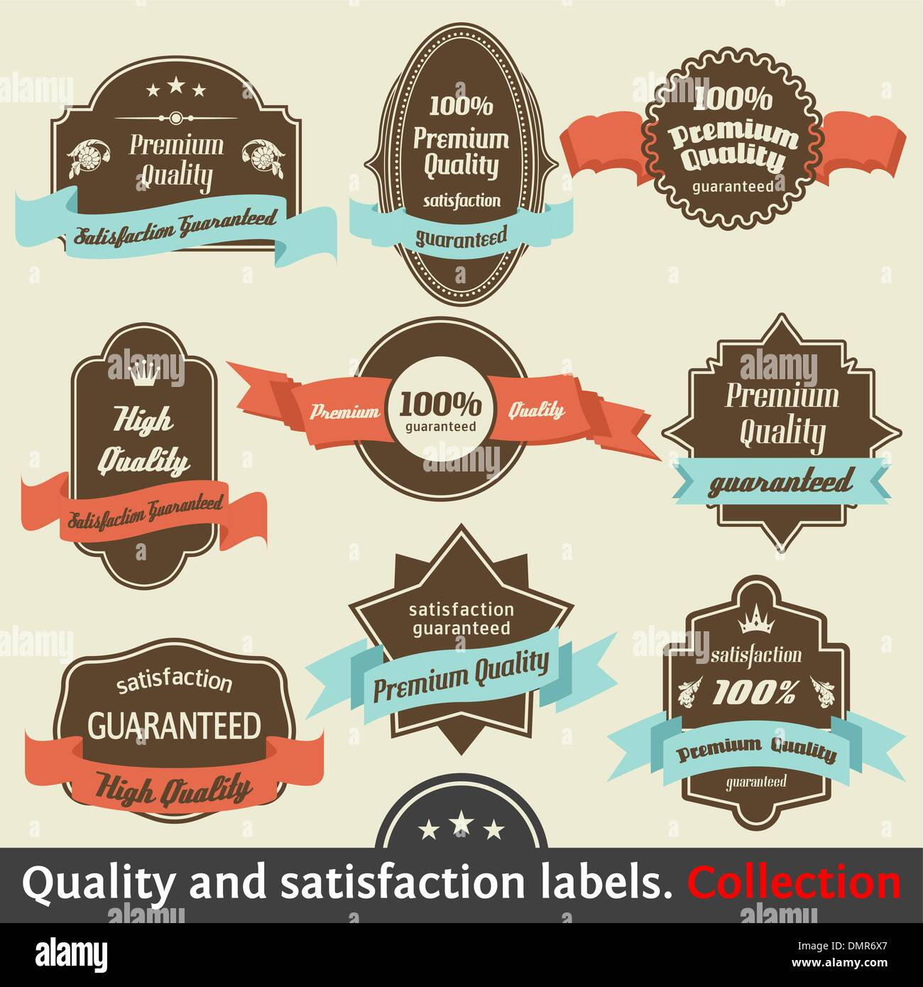 Vintage Premium Quality and Satisfaction Guarantee Label collect - Stock Image