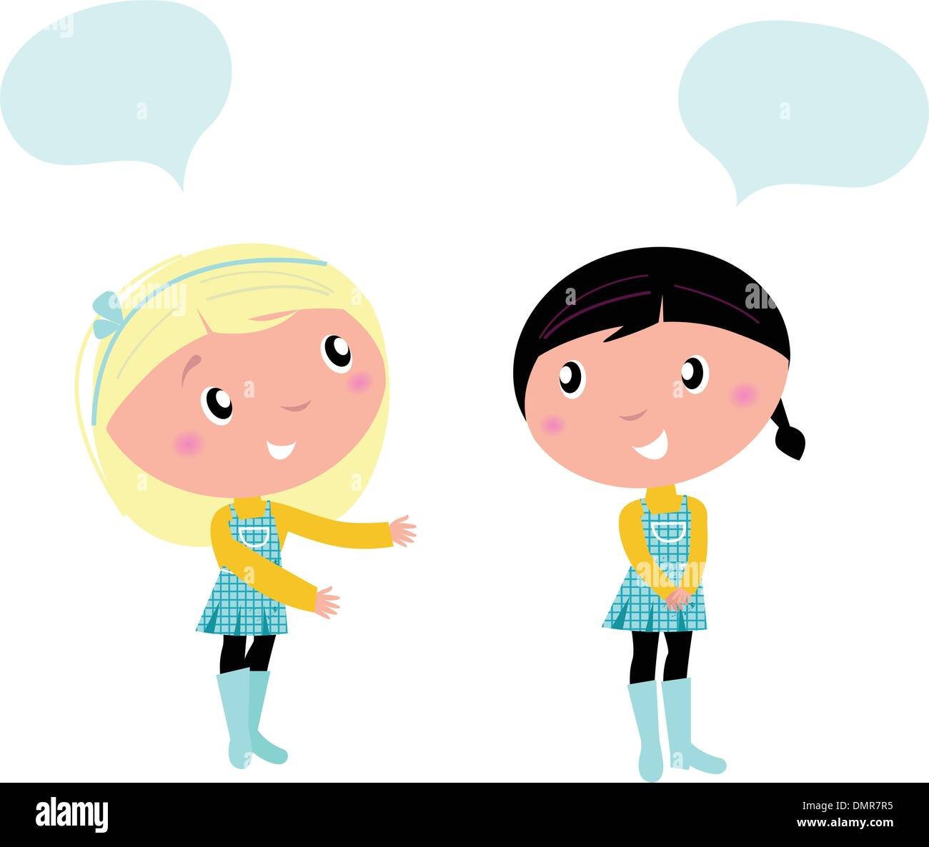 Two cute school girls talking about something - Stock Vector