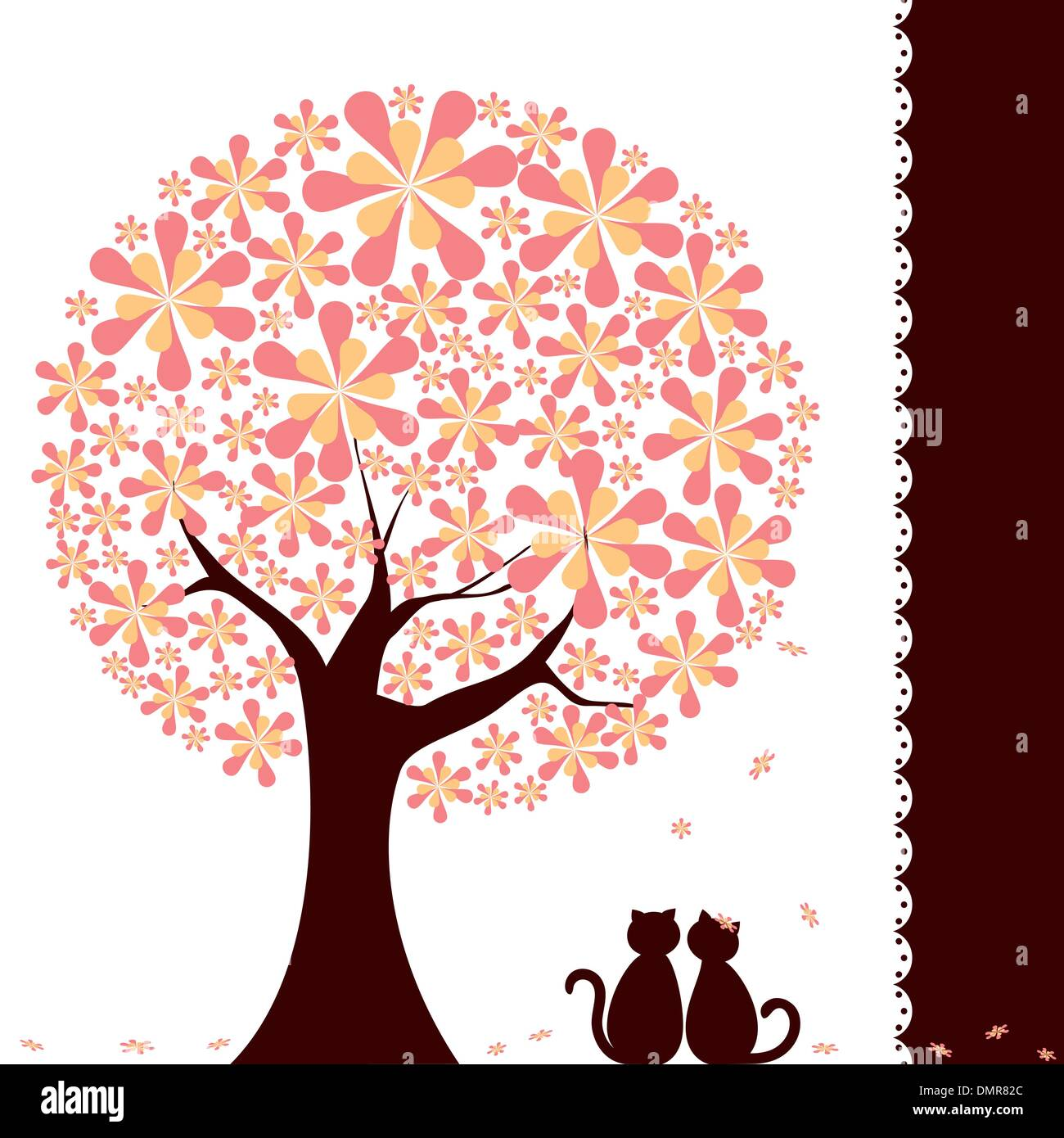 Springtime flower tree with love cats - Stock Image