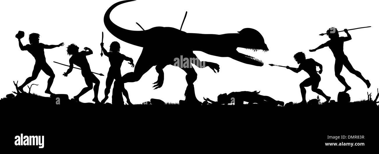 Prehistoric hunt - Stock Vector
