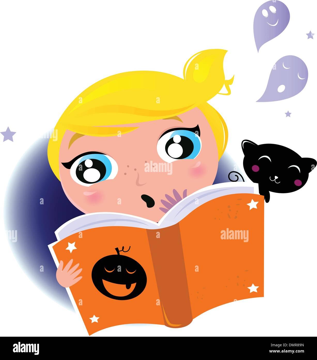 cute little kid reading halloween story book