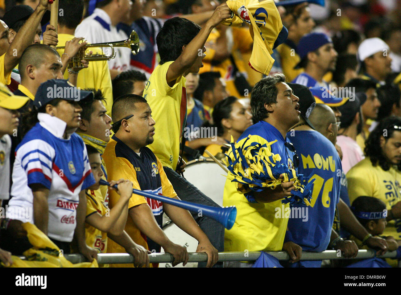 16 September 2009: Fans support their respected teams. Chivas Guadalajara defeated Club America 2-1 in the 205th Clasico match between the two teams. Arrowhead Stadium, Kansas City, MO, USA. (Credit Image: © Tyson Hofsommer/Southcreek Global/ZUMApress.com) - Stock Image
