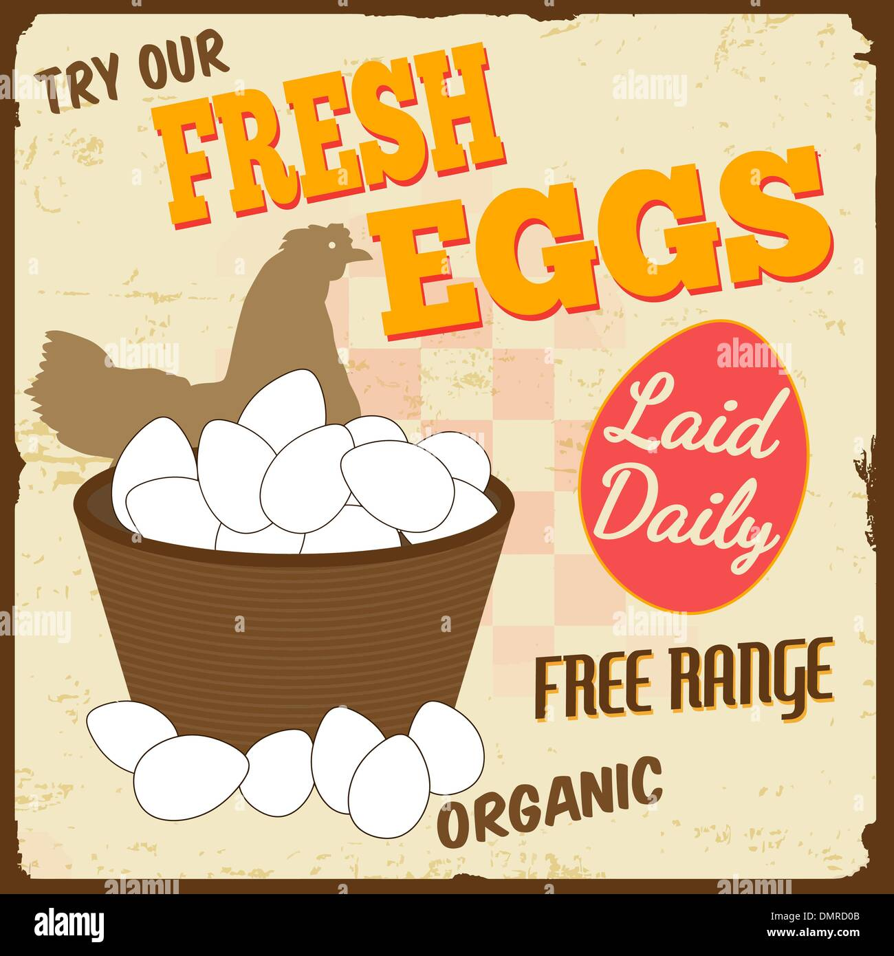 Fresh eggs vintage poster - Stock Vector