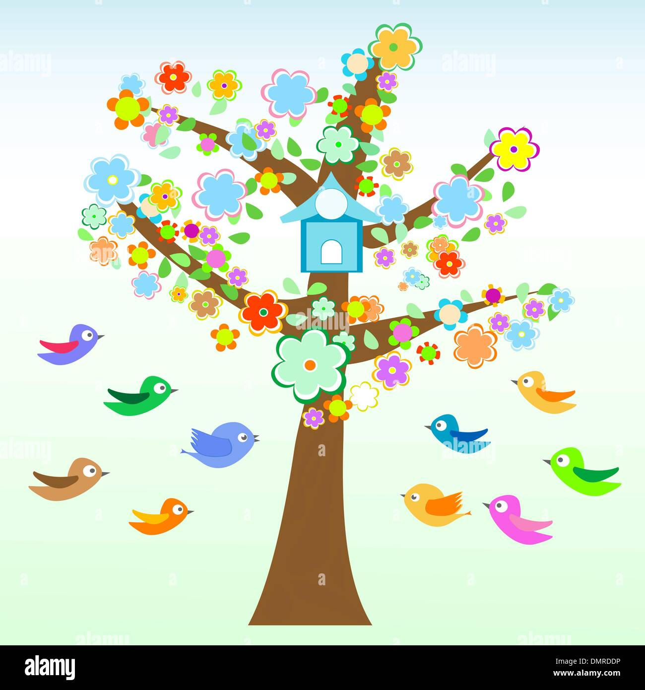bird and tree with flowers and leaves card Vector - Stock Image