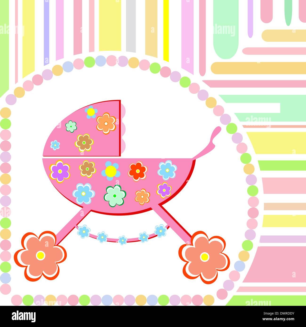 baby girl arrival announcement greeting card vector stock vector art