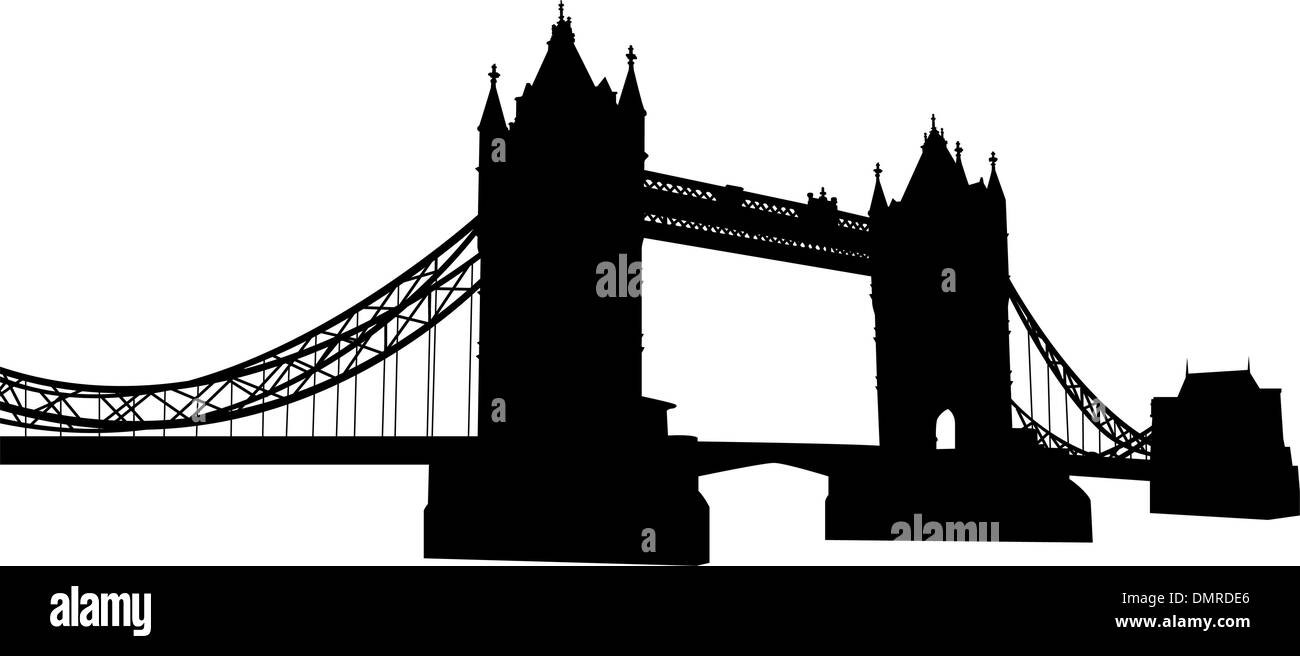 Bridge tower silhouette - Stock Vector