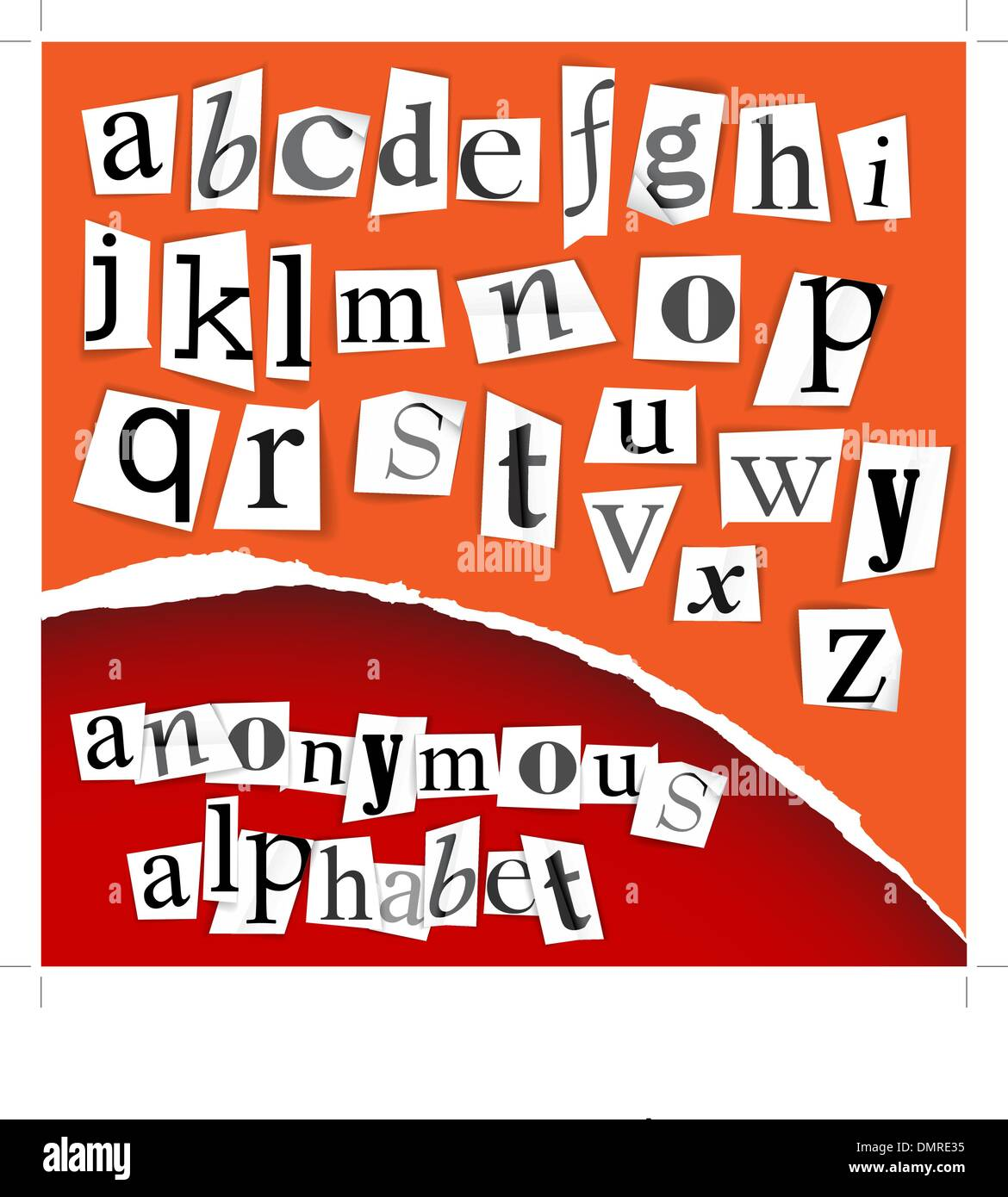 Anonymous alphabet - white clippings - Stock Image