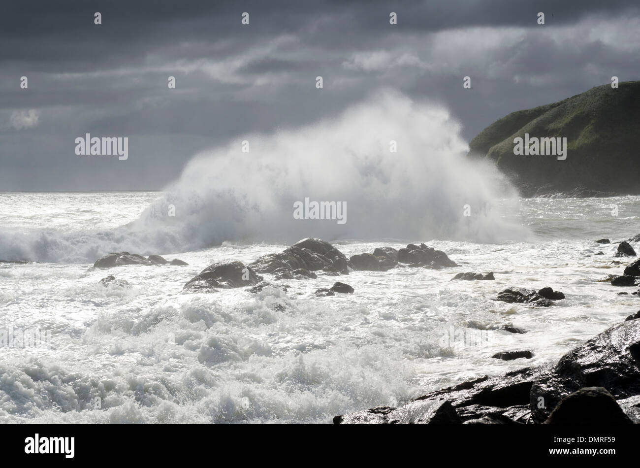 stonehaven shore waves storm surf crashing waves - Stock Image