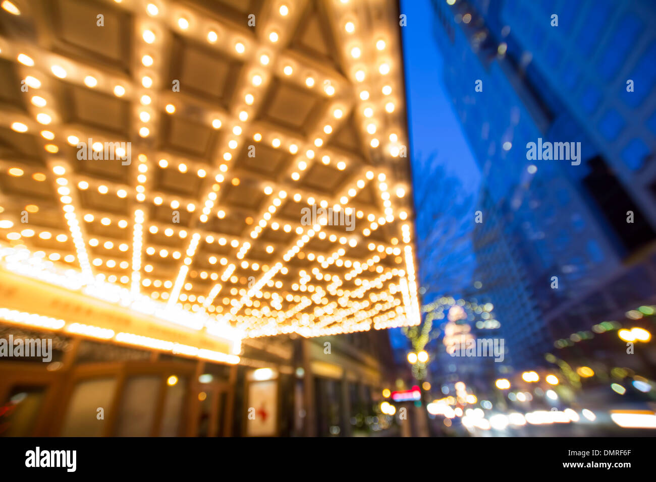 Broadway Street in Downtown Portland Oregon Out of Focus Bokeh Stock Photo