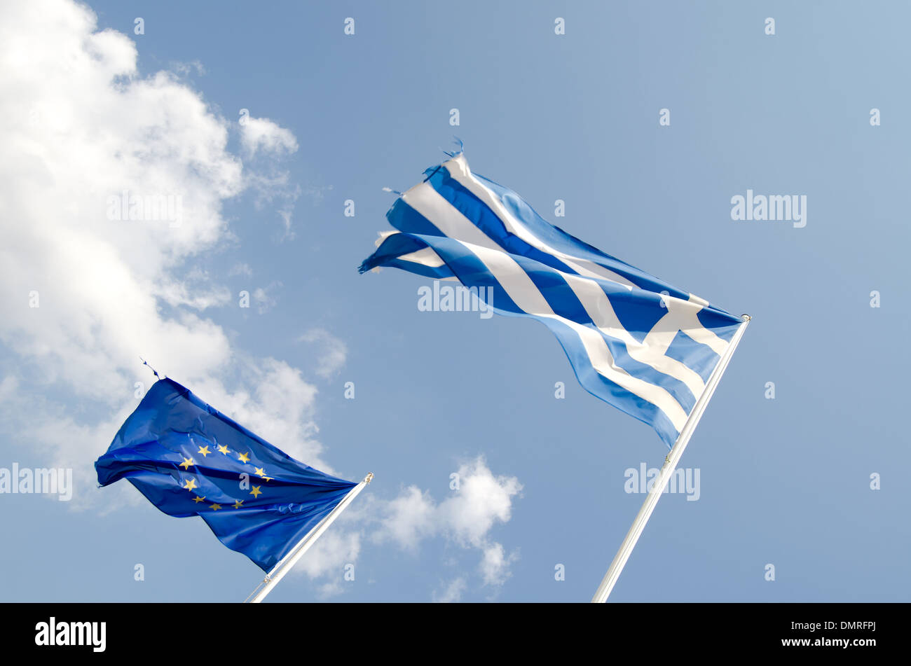 Greek and European Union Flags - Stock Image